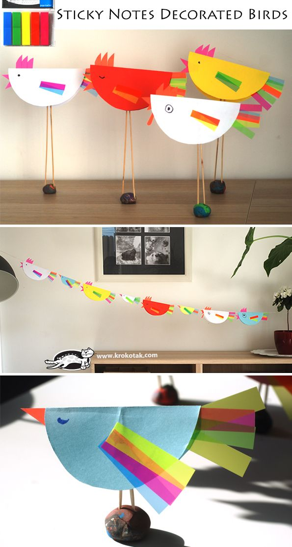Paper plate/sticky note birds