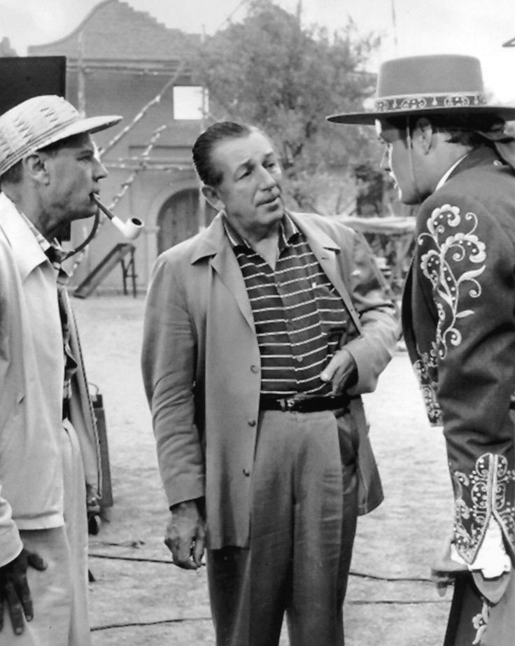 Walt Disney and Guy Williams on the set of Zorro.