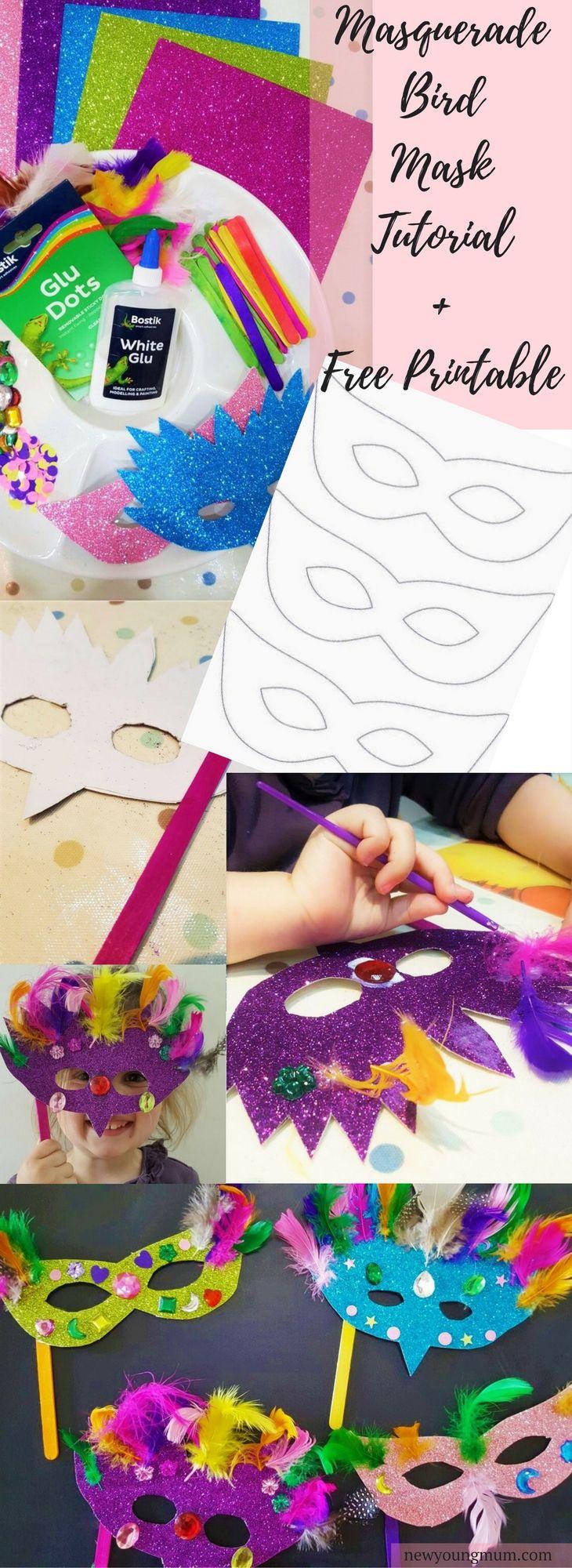 Bird Masks Kids Craft with a FREE Template Printable. Kids printables, bird mask, bird masks, kids crafts, children's crafts, simple kids crafts, easy crafts, free printable, bird crafts, get crafty, childrens craft ideas.