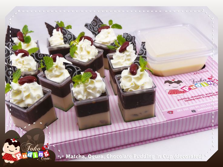 Decorated Matcha, Ogura, Chocolate Pudding in Cup