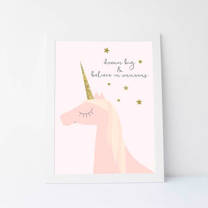 How cute is this unicorn print? Pastel + unicorn trend. Perfect for a girl's room