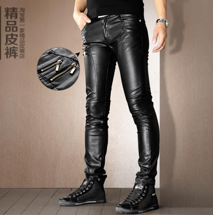 Winter warm motorcycle pu leather pants men feet trousers homme pantalones thicken plus velvet faux leather skinny pants mens