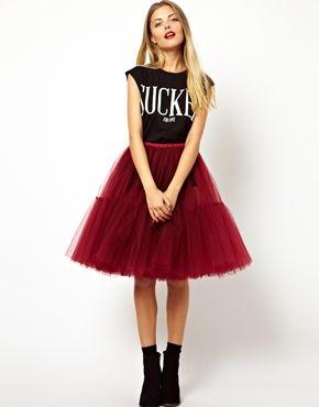 ASOS Full Midi Skirt in Mesh