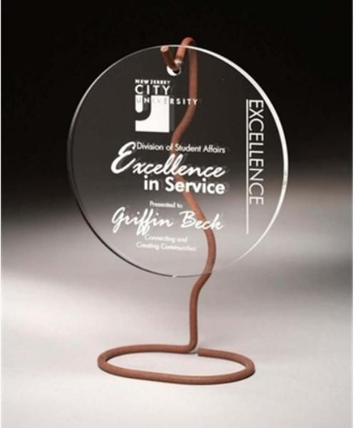 "10"" Tall, .375"" Thick, Clear Hanging Sphere with Wire   SDTA offers free engraving on all of our awards and trophies!"