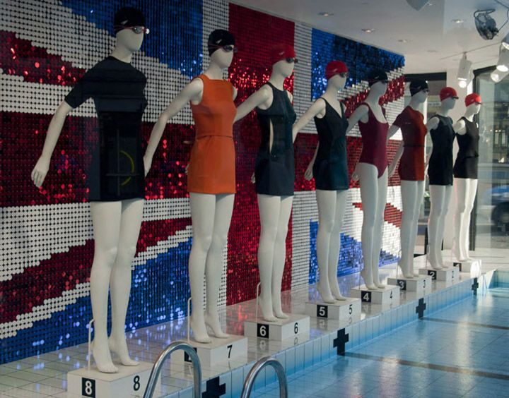 Window Display and Visual Merchandising Olympic themed swim concept