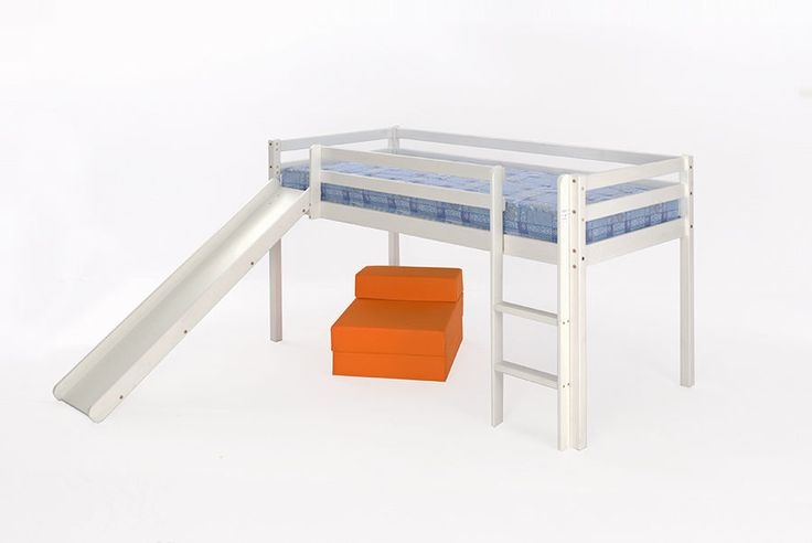 The Mid Sleeper Bunk is an attractive solid pine frame, finished in a white wash finish. The bunk has a fixed slatted base along with head board and foot board for rigidity and support. The Mid Sleeper Bunk features an adjustable ladder and supporting side rails and is available with or without the slide. | eBay!