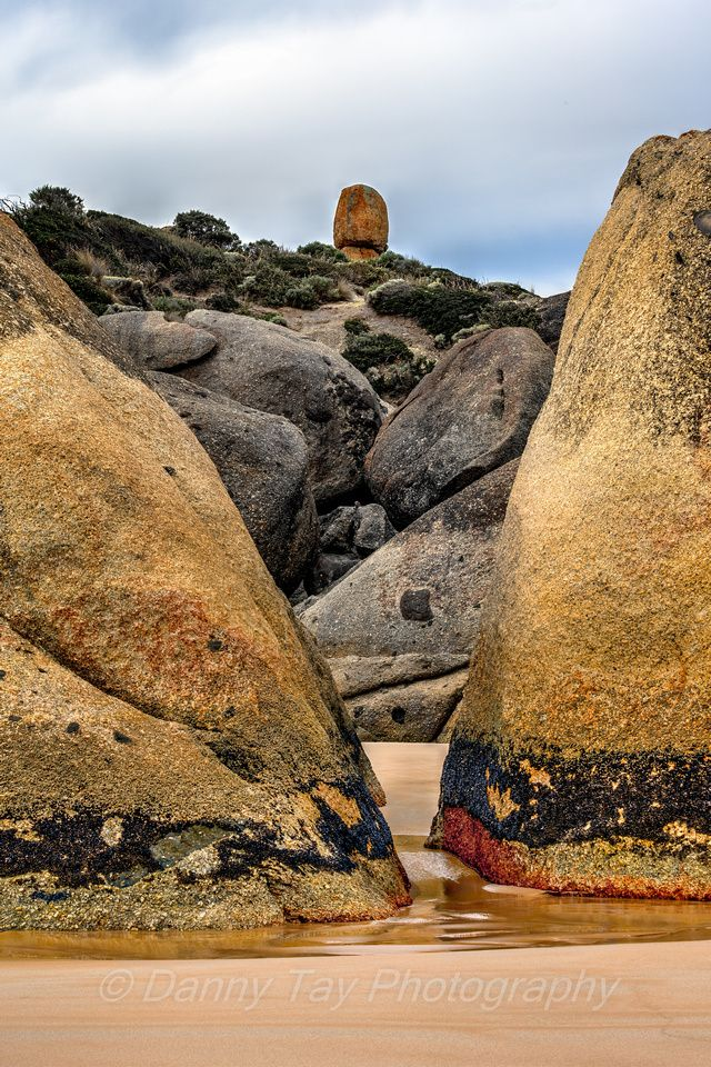 You have to get past us first! Boulders HEFTY & UGLY stop me from seeing their boss LITTLE ROCK at Wilsons Promontory, Victoria, Australia.