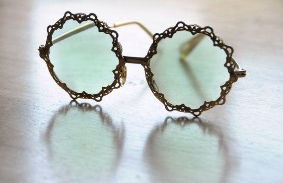 Vintage des années 60 Hipster Disco vert lunettes de soleil fantaisie atomique Summer Party femme