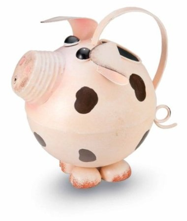 """Amazon.com: Pink Pig Antiqued/Rustic Metal Watering Can - 8"""" Long and 8"""" Tall: Patio, Lawn & Garden"""