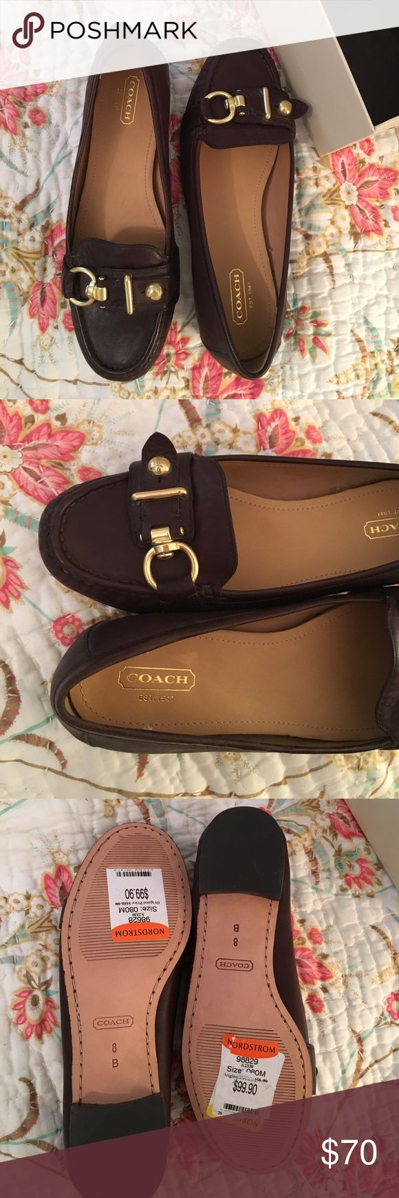 NEW NEVER WORN COACH FLATS NEW NEVER WORN COACH FLATS! Brand new size 8 Coach shoes. I have the box as well. Chocolate brown. Uber comfy. Coach Shoes Flats & Loafers