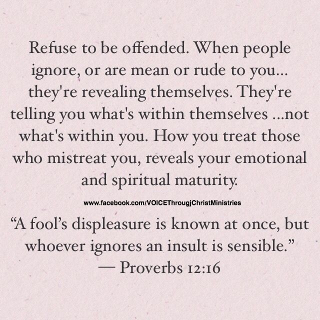 """Refuse to be offended. When people ignore, or are mean or rude to you…they're revealing themselves. They're telling you what's within themselves ...not what's within you. How you treat those who mistreat you, reveals your emotional and spiritual maturity.   """"A fool's displeasure is known at once, but whoever ignores an insult is sensible."""" — Proverbs 12:16 #Evonika❤ღ❤"""