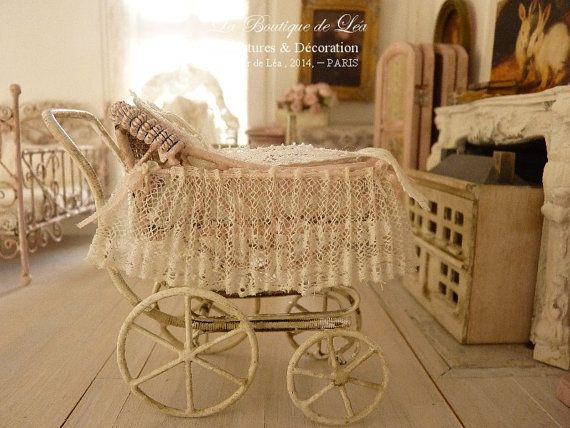 PINK pram in metal, French antique lace, sweet nursery, Accessory for a French dollhouse in 1:12th scale on Etsy, $97.18