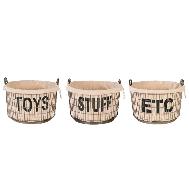 Aidan Gray Decor Wire Toys, Stuff And Etc Basket Set With