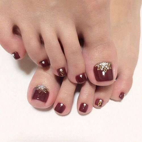 Deep ruby red and light blue & gold design toenail pedicure idea
