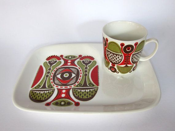 Figgjo Flint Granada TV or snack plate with cup, breakfast set in petrol and…