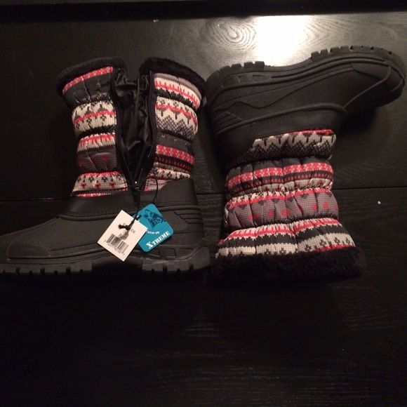 ⚡️FLASH SALE ⚡️Red and black winter boots NWT Super comfy black and red designed winter boots. Zip up side. Size 10 but runs small. More like a 9/9.5 Xtreme Shoes Winter & Rain Boots