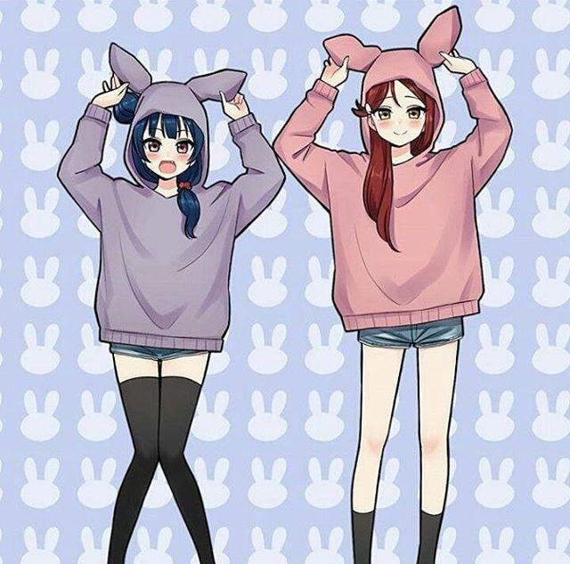 Bunny Hop Hop Anime Sisters Anime Best Friends Friend Anime