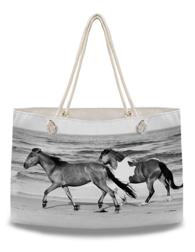 Galloping Beach Horses Equestrian Weekender Tote Bag - The Painting Pony - perfect oversized bag to take on long horse show weekends! great gift for anyone who loves horses, ponies, and horseback riding.