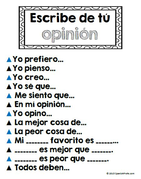 Escritura de opiniones--- Sentence starters in Spanish for opinion writing.