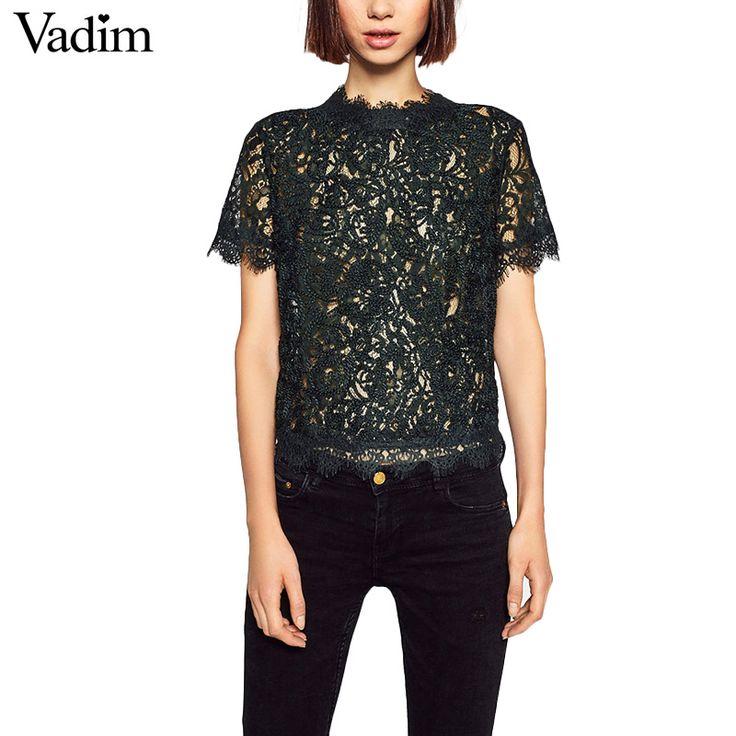 Женщины сладкий кружева растениеводство топы с коротким рукавом винтаж повседневная о образным вырезом блузки назад молния дамы мода уличная рубашки blusas DT857 купить на AliExpress