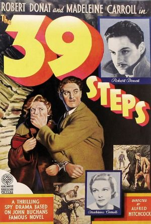 The 39 Steps is a 1935 British thriller film directed by Alfred Hitchcock, starring Robert Donat and Madeleine Carroll.    (fr=Les 39 marches)
