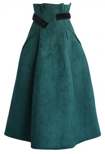 Aromatic Faux Suede Full Skirt in Turquoise