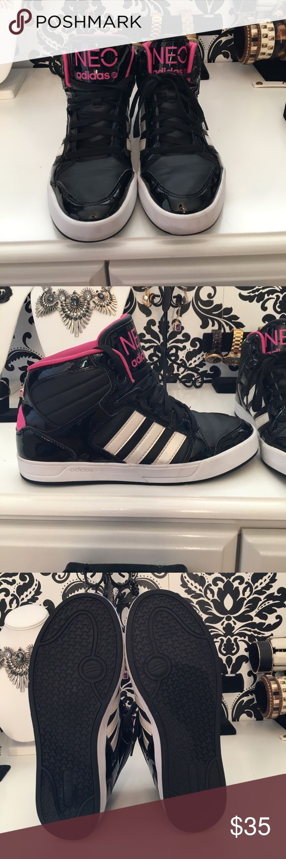 Adidas Neo High Tops - Size 10 hot pink and black Gently used Adidas Hot Pink and Black High Tops! Adidas Shoes Sneakers