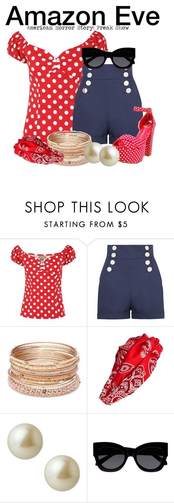"""Amazon Eve - American Horror Story: Freak Show"" by nerd-ville ❤ liked on Polyvore featuring Red Camel, Cara, Carolee, Karen Walker, americanhorrorstory and ahs"