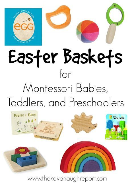 Easter Baskets for Montessori Babies, Toddlers and Preschoolers. Fun spring themed ideas for Easter baskets.