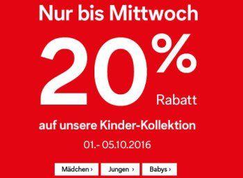 Nur noch heute: 20 Prozent Rabatt auf die Kinder-Kollektion bei C&A https://www.discountfan.de/artikel/klamotten_&_schuhe/nur-noch-heute-20-prozent-rabatt-auf-die-kinder-kollektion-bei-ca.php Noch bis Mitternacht gibt es bei C&A einen Sonder-Rabatt von 20 Prozent auf die Kinder-Kollektion. Ein Gutschein-Code wird nicht benötigt, die Lieferung in die Filiale erfolgt gratis. Nur noch heute: 20 Prozent Rabatt auf die Kinder-Kollektion bei C&A (Bild: C&A) Um den ..