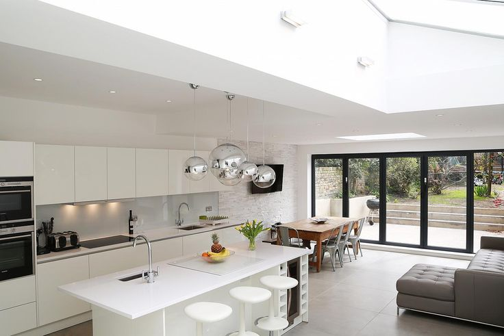White kitchen island extension