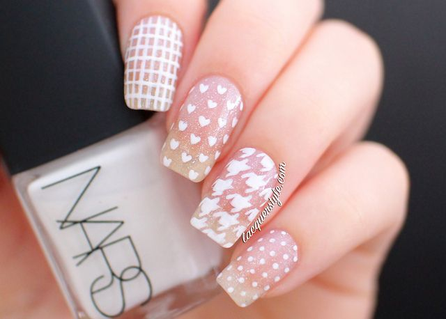 lacquerstyle: white negative space mix & match nails