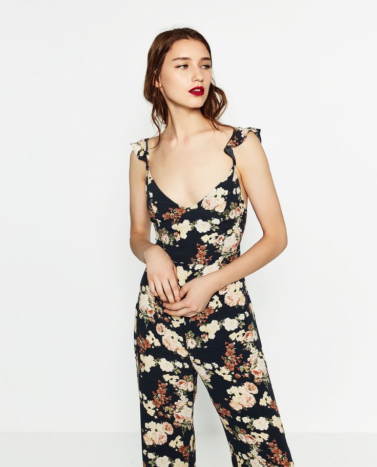 Image 1 of LONG PRINTED JUMPSUIT from Zara