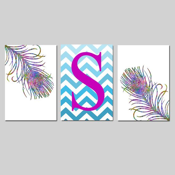 Watercolor Peacock Feathers and Ombre Chevron Monogram by Tessyla, $65.00