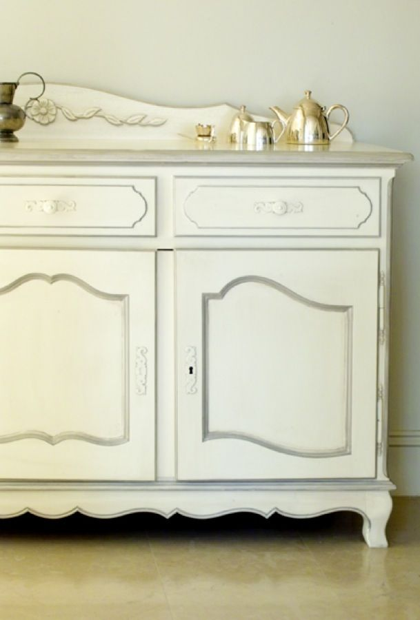 Louis XV antique white buffet side cabinet - perfect to display ornaments and silverware - French provincial style in Sydney, Australia