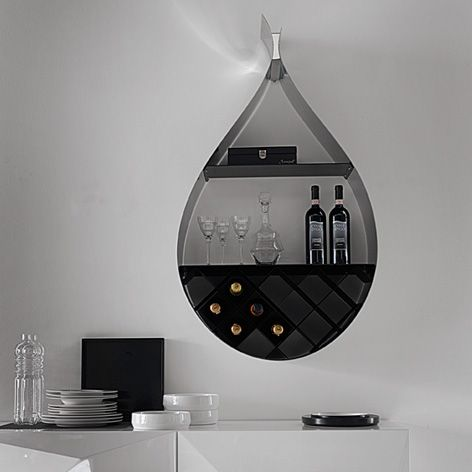 Contemporary Wall Wine Rack Shaped Like a Drop | DigsDigs