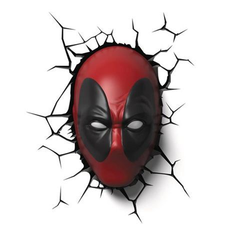 This Marvel Deadpool Mask 3D Light is a cordless, battery operated 3D light of Marvel's Merc with a Mouth. This is the kind of light you need in your geeky room. It is easy to install and uses LED bulbs that are never hot to the touch. Plus it looks cool switched on or off. Use the inclu