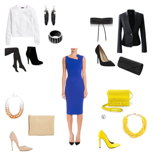 """Cobalt dress - 1 item 4 looks"" by niki-1hourforme on Polyvore featuring H&M, Victoria Beckham, Via Spiga, ALDO, Rebecca Minkoff, White House Black Market, Office, Saloukee, Steve Madden and Mascara"