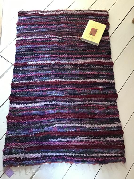 Unique Handwoven Wool Rag Rug upcycled out of waste selvedge