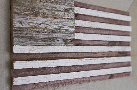 Rustic Wood Art Wood American Flag
