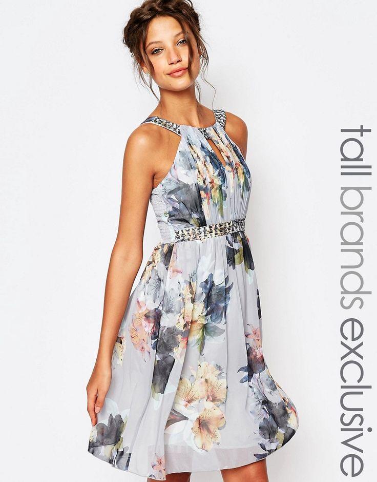 Little+Miss+Tall+High+Neck+Skater+Dress+In+Floral+Print