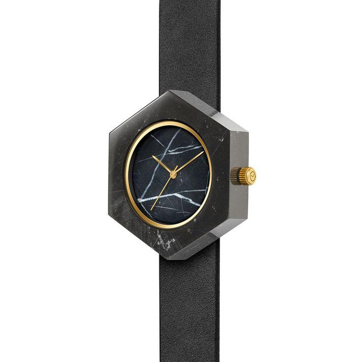 Mason Black Marble Hexagon Watch