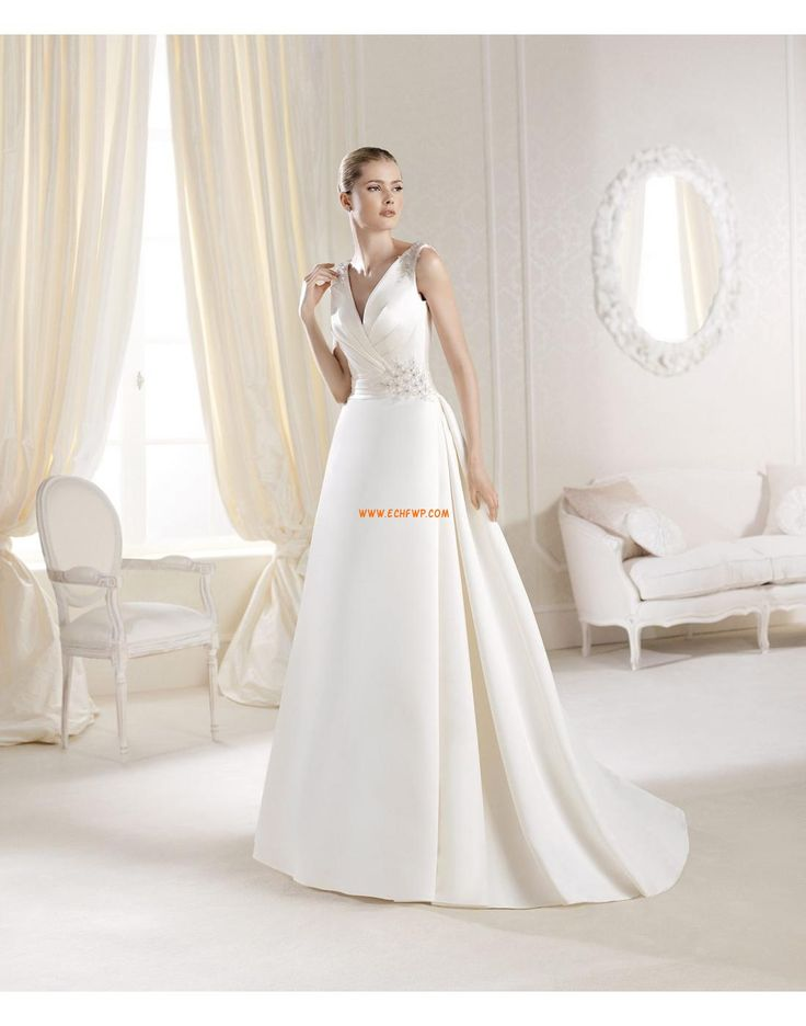 A-line Robes Blanches Simples Grandes tailles Robes de mariée 2014