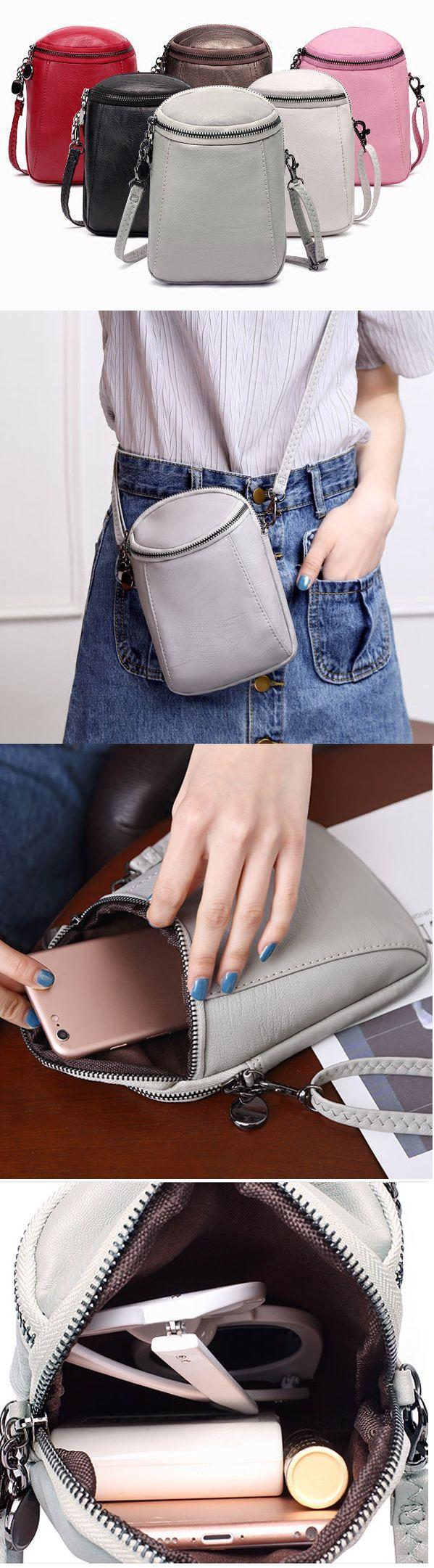 US$7.99 Woman Round Little Phone Bag Casual PU Crossbody Bag Bucket Bag Vintage Bag