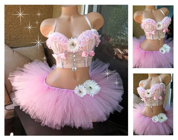 Rave Outfit - Rave Bustier Bra and TuTu, 34C, Pre Made, Rave Corset, Victorian, Romantic, Marie Antoinette, Pastel Goth, EDM Outfit