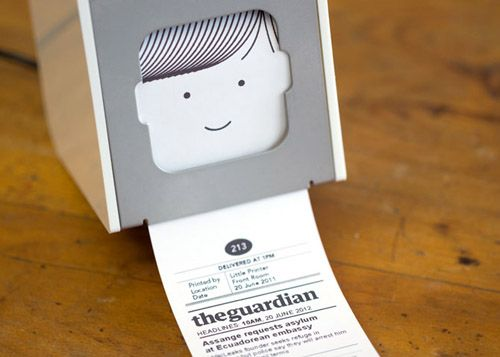 Have you  seen this smiley tabletop printer? Little Printer delivers news headlines, to-dos, puzzles, gossip, or even notes from your friends as miniature newspapers. You set the time, and you can leave the house with a tiny news report for your morning commute!