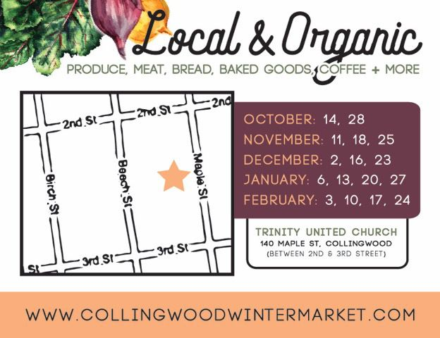 Are you going to the 1st Collingwood Winter Farmers' Market on Saturday, October 14th, 2017 between 10am-1pm at the Trinity United Church, Collingwood?  #CollingwoodWinterFarmersMarket #FarmersMarket #RoyalLePageTrinity