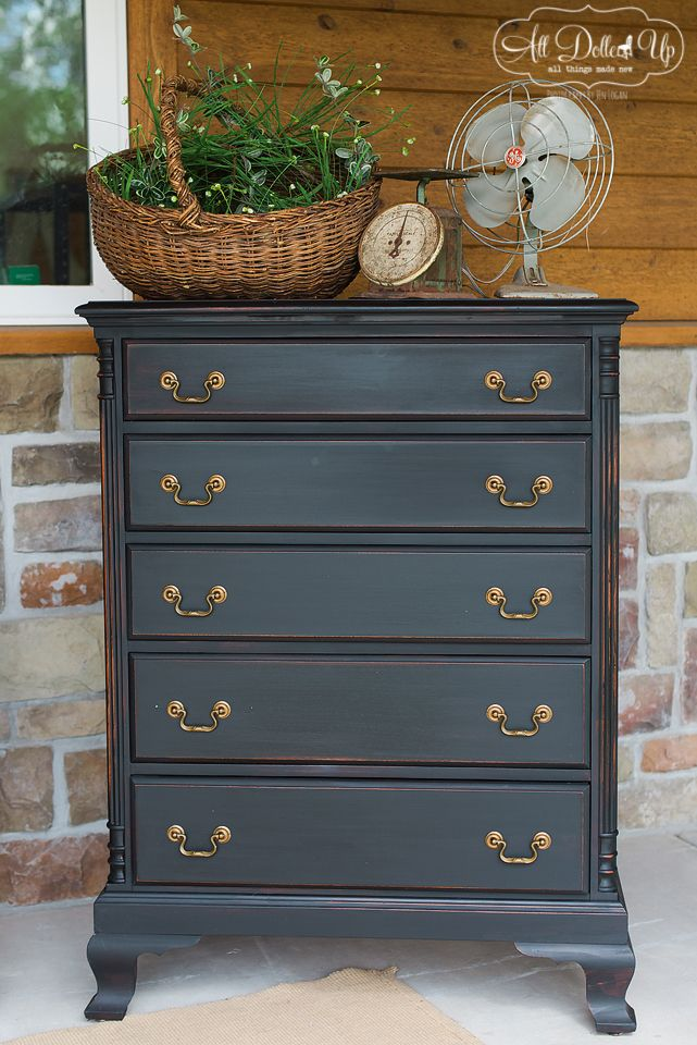 Beautiful #Black Dresser Re-Do by {All Dolled Up} with MMS Typewriter & Hemp Seed Oil finish. #Love #FurnitureRestoration