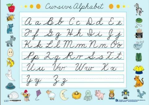 Abecedario en letra cursiva