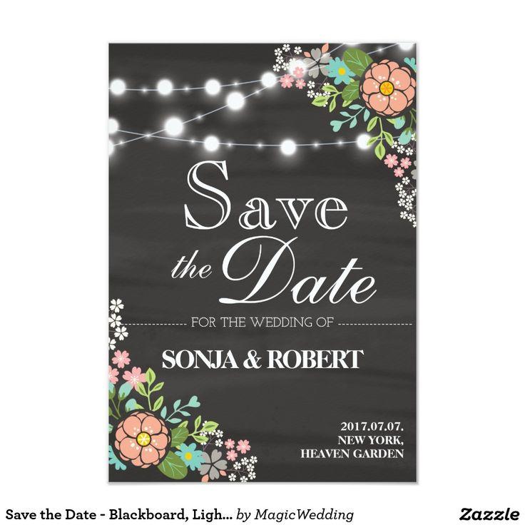Save the Date - Blackboard, Light, Pastel Flower Card